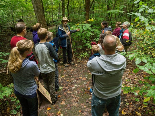 Indiana Master Naturalist Gary Frank leads guests on