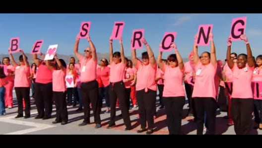 Screen capture from UMC of El Paso Pink Glove Dance video entry.