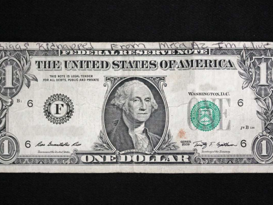 A dollar bill with a tip in Mesa's Mikelle Biggs' disappearance