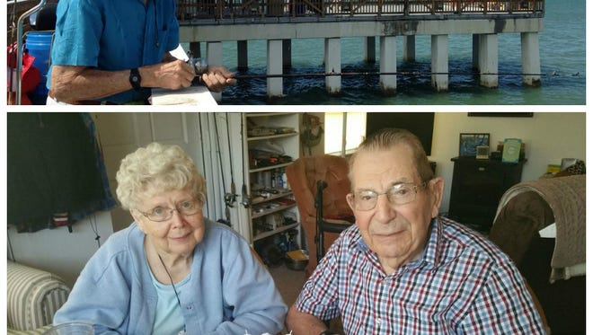 Top photo, Ed Sauder fishing recently off the pier at Fort Myers Beach. Below, with his wife of 76 years, Bonita.