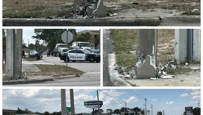 Fowler Street at Linhart Avenue was closed for a time Thursday after a truck crushed a concrete power pole.