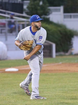 Rockland Boulders starter Richard Salazar completes a play to first base during Rockland's 3-1 win at New Jersey in the Can-Am League playoffs Thursday night.