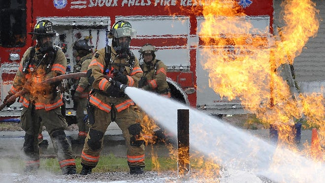 Sioux Falls Fire Rescue conducts a live fire training simulating a natural gas emergency.