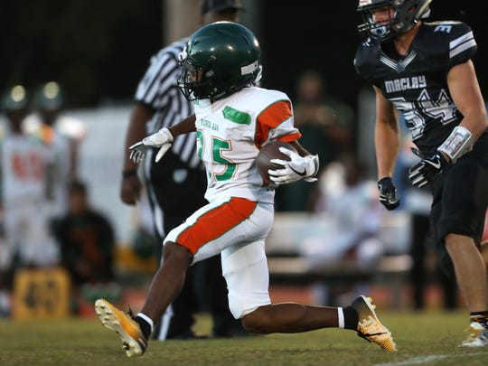 FAMU DRS' Justin Stubbins streaks down the field on a run against Maclay during their game at Maclay school on Friday, Oct. 20, 2017.
