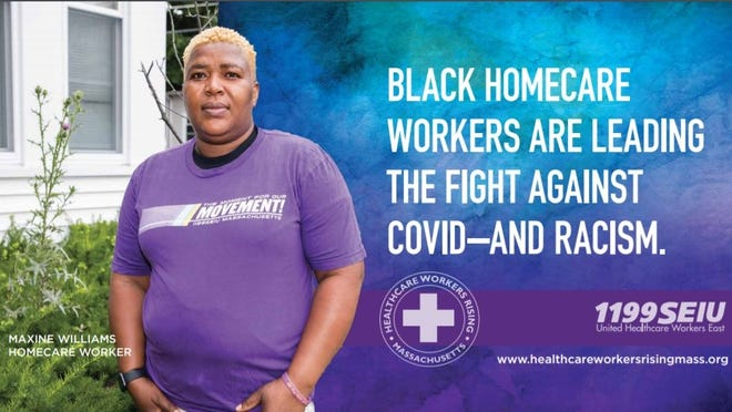 Maxine Williams, 45, of Brockton is featured in two billboards put up in the city that features Black home care workers. The campaign is by 1199SEIU, a union that represents some of the state's home care workers.