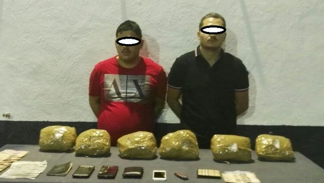 State officers arrested the men, identified as Cristal Manuel, 32, and Abel, 25, who said they allegedly had brought the drugs from their hometown of Michoacán to cross them into the United States.