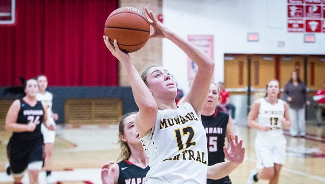 Monroe Central's Jordyn Barga drives to the basket during a sectional game last season. Barga was one of two local Indiana Junior All-Stars.