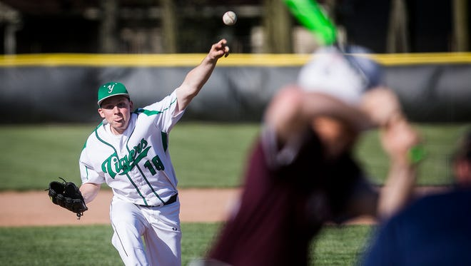 Yorktown's Sullivan Swingley pitches against Wes-Del during their game at Yorktown High School Tuesday, May 8, 2018.