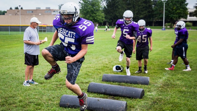 Central football players work through drills during their first week of practice at Central Tuesday afternoon.