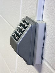 As part of a security upgrade, several keypads like this one at the intermediate school are being added to doors at the  Fairfield schools to control where visitors can go.