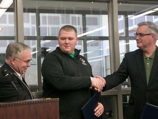 York County Commissioners Doug Hoke, left and Chris