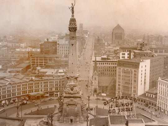 This undated photo shows the Soldiers and Sailors Monument from a view south of Monument Circle. The monument designed by German architect Bruno Schmitz was built from 1888 to 1901.