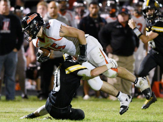 Hasbrouck Heights at Cresskill on Thursday, September 28, 2017.  HH #45 Jordan Wexler on his way to a first down in the fourth quarter.