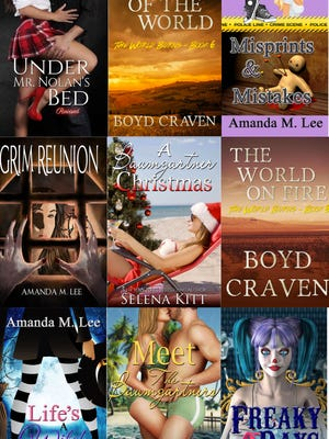 Book covers from authors Selena Kitt, Amanda Lee and Boyd Craven.