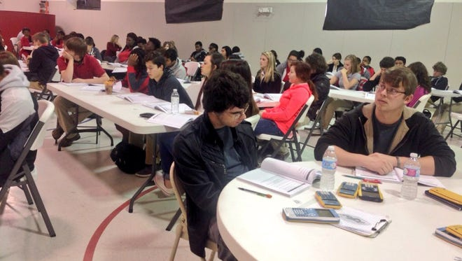 Juniors and seniors from Glenmora, Northwood and Plainview high schools participate in an ACT boot camp Thursday.