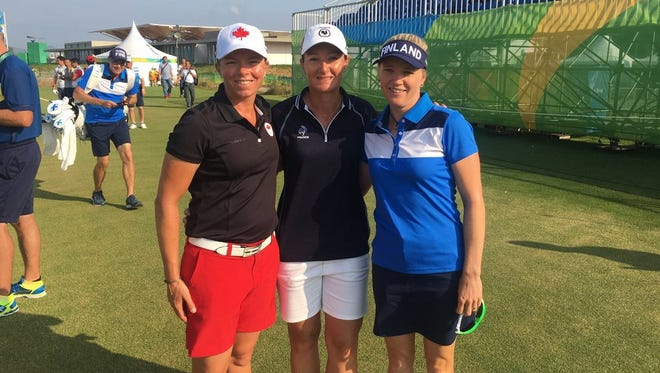 Former New Mexico State golfers Alana Sharp, Gwladys Nocera and Ursula Wikström completed their Olympic run on Saturday.