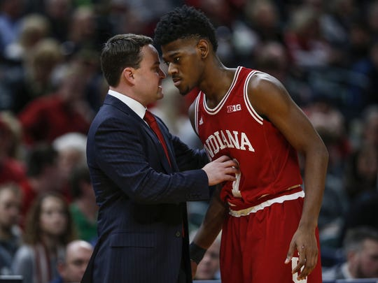 Indiana Hoosiers head coach Archie Miller has words with Indiana Hoosiers guard Aljami Durham (1) during the Crossroads Classic at Bankers Life Fieldhouse in Indianapolis on Saturday, Dec. 16, 2017.