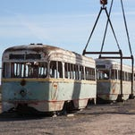 A streetcar begins its restoration journey Thursday. Others will be sent to the Brookville Equipment Corp. in Brookville, Pennsylvania later. Three began the trip Thursday.
