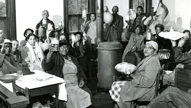Farmers gather for Lord's Acre program in the 1930s.