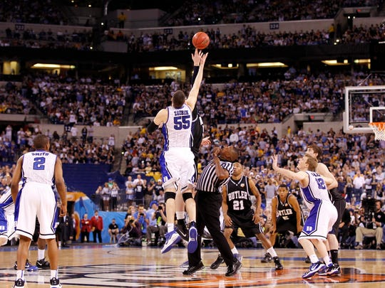 Butler and Duke tipoff the championship, with Butler winning possession. Butler University faced Duke University in the championship game of the NCAA Final Four Division I Men's Championships at Lucas Oil Stadium in Indianapolis Monday, April 5, 2010.