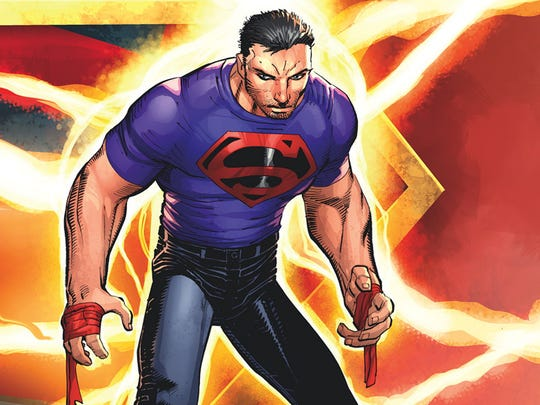 Superman's new look —cape and costume out, jeans and