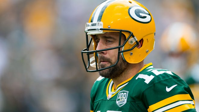 Sep 16, 2018; Green Bay, WI, USA; Green Bay Packers quarterback Aaron Rodgers (12) during warmups prior to the game against the Minnesota Vikings at Lambeau Field. Mandatory Credit: Jeff Hanisch-USA TODAY Sports