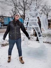 Natalie Thomas, an ice carver from Utica Eisenhower