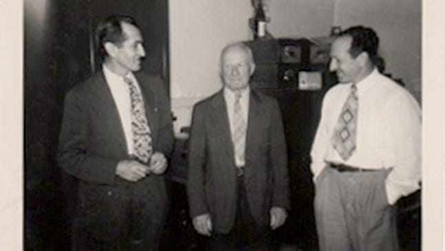 Pictured in the front office of the Krim bottling plant on Broad Street in Lebanon in the 1940s, are, from left, Irwin Krim, Max Krim and Nate Krim.