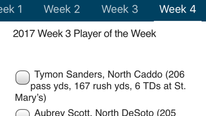 Vote on (Week 3) Player of the Week