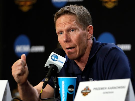 Gonzaga head coach Mark Few speaks during a news conference for the Final Four NCAA college basketball tournament, Sunday, April 2, 2017, in Glendale, Ariz. (AP Photo/Mark Humphrey)