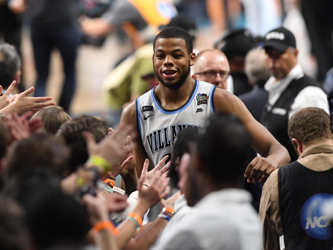 Villanova Wildcats forward Omari Spellman (14) celebrates