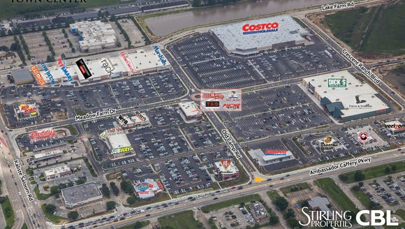 An aerial map shows tenants at Ambassador Town Center.