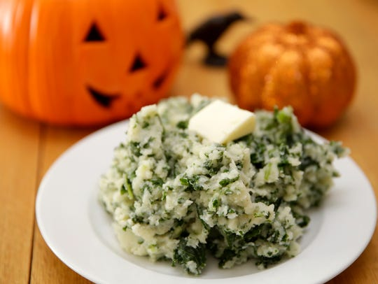 In this colcannon, garlic, green onions and kale add