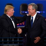 Donald Trump and Jeb Bush at the GOP presidential debate on Sept. 16, 2015, in Simi Valley, Calif.
