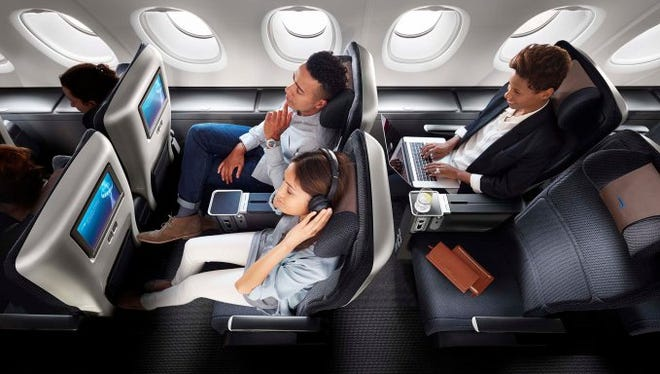 BRITISH AIRWAYS WORLD TRAVELLER PLUS When launched: 2000. Seat pitch: 38 in. Sea width: 18.5 in. Seat configuration: 2-4-2; 2-3-2 on A380 aircraft. Aircraft: All long-haul aircraft. Separate cabin: Yes. Priority check in: Yes. Extra baggage allowance: On most routes. Charge for reserving specific seats in advance: Varies depending on seat. Power ports: Yes. Average price over regular economy: 50% to 100% (on some flights, ironically, WTP is less or the same as regular economy). Other perks: Amenity kits, larger video screens, premium meals, bigger pillows and blankets. Sample fares, New York-London, November: Economy, $799; World Traveller Plus, $1,582; Business, $4,500.