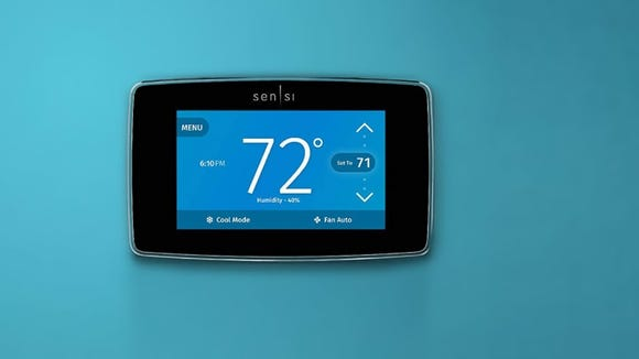 This WiFi-enabled smart thermostat can be adjusted by room.