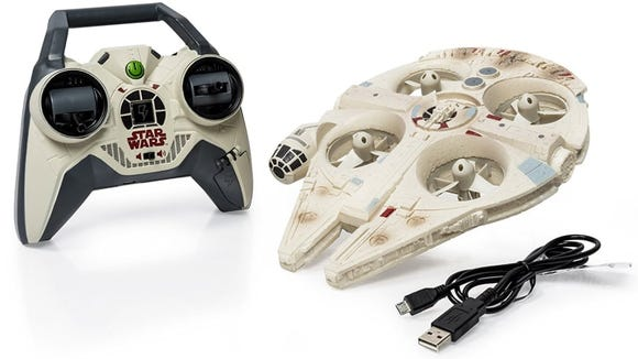 This retro Millennium Falcon looks great in the air or on display.