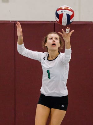 Greendale senior Jessica Grabowski (1) serves during the 2017 Indian Invite volleyball tournament at Menomonee Falls High School on Saturday, Sept. 30.