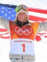 South Lake Tahoe's Jamie Anderson celebrates winning
