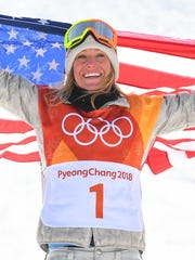 South Lake Tahoe's Jamie Anderson celebrates winning the gold medal in the women's snowboard slopestyle event at the Olympic Winter Games.