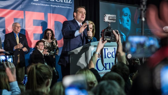 Ted Cruz speaks at a caucus night rally on Feb. 1,
