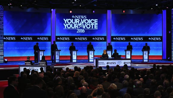 The Republican presidential candidates during Saturday's