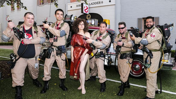 "Fans attend the ""Ghostbusters"" fan event Wednesday."