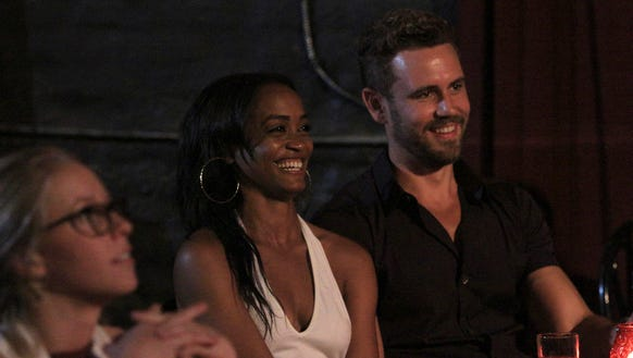 'Bachelor' Nick Viall, right, sits with Rachel Lindsay,