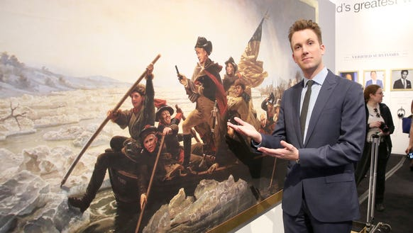 Jordan Klepper poses with Trump's crossing of the Delaware