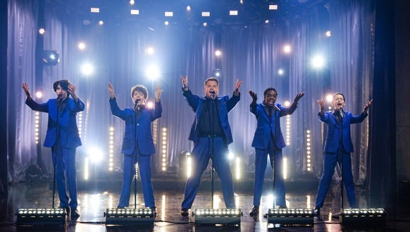 Finn Wolfhard, left, Gaten Matarazzo, Caleb McLaughlin, and Noah Schnapp showed they can sing with James Corden.