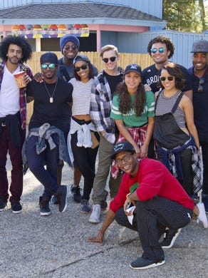 """2015: On their day off, the cast and crew of """"Hamilton"""", one of Broadway's hottest shows, spent the afternoon at Great Adventure and sampled many of the park's thrill rides."""