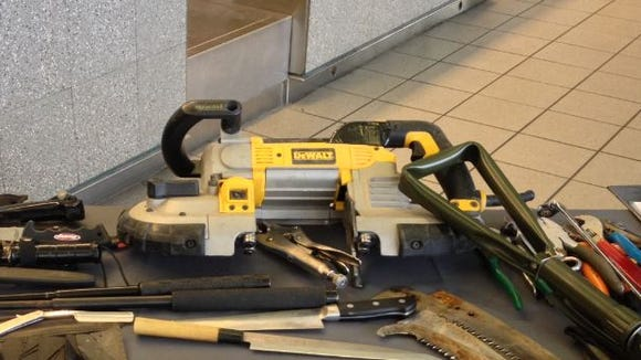 Someone tried to take a Dewalt band saw through a TSA checkpoint at Jackson International Airport. It was confiscated.