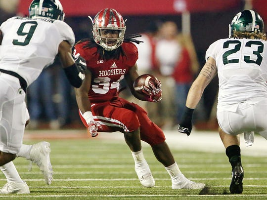 Indiana Hoosiers running back Devine Redding (34) during first half action against Michigan State, Bloomington, Ind., Saturday, October 1, 2016.