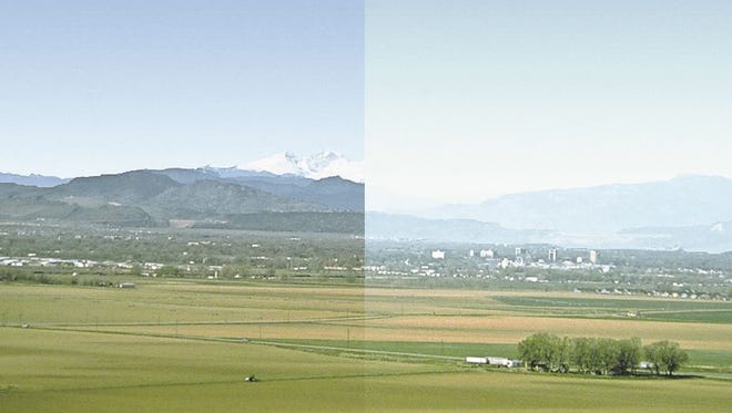 A good visibility day compared with a simulated hazy day in Fort Collins.